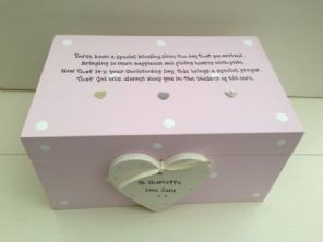 Shabby Personalised Chic Christening Baptism Goddaughter LARGE Keesake Box